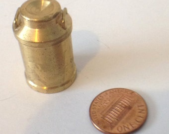 Brass Miniature Dollhouse figurine furniture collectible - Milkcan with Lid Milk Can Ships free with any other shop purchase