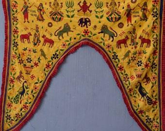 Tribal toran yellow single arch Ganesh door textile window valance vintage Indian boho decor arch frame embroidery