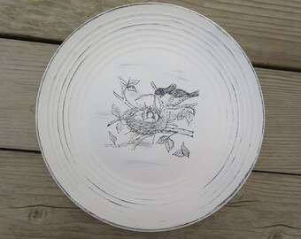 Shabby Chic Bird Black/White Home Decor Plate W/Mama Bird/Baby Bird Nest Country Home Farmhouse
