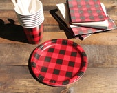 Buffalo Paid Party Ware ~  Plates, Napkins and Cups ~ Great for Lumber Jack Party