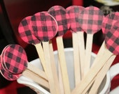 Buffalo Plaid Wooden Drink Stirrers ~ perfect for Lumberjack and woodland theme parties