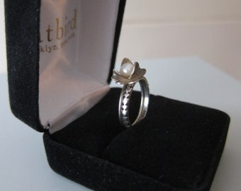 Sterling Silver and Pearl ring set wedding engagement stacking blooming flower