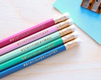 Stationery Addict Hashtag Pencils - Back To School - Teacher Gift - Pencil Sets - Stocking Filler - Stamped Pencils - Engraved pencils