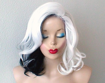 White / Black wig. Lace Front wig. Cosplay wig.  Half white / half black Short wig. Durable Adult Halloween Costume wig.
