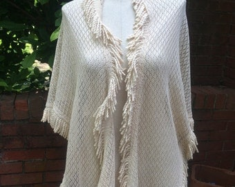 Crochet Lace Fringed Short Shawl/Wrap-Ecru