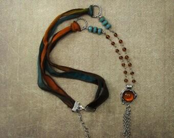 Earthtone cabochon necklace tassel necklace silk ribbon necklace boho
