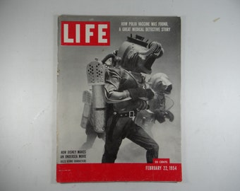 1954 Life Magazine, February 22,  How Disney Makes an Undersea Movie - Jules Verne - Polio Vaccine
