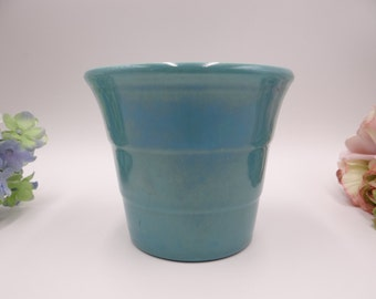 Vintage 1940s Bauer Pottery Gloss Pastel Kitchenware #4 Turquoise Wide Ringed Step Flower Pot or Planter