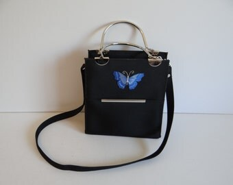 Black Purse with Blue Butterfly and Silver Handles and Long Strap - Butterfly Purse - Butterfly Handbag - Black Purse - Black Handbag