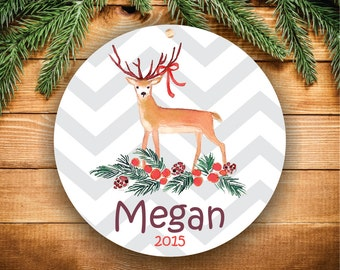Christmas Ornament, Personalized Christmas Ornaments, Handmade Ornament, Gift for Teen Girl, Personalized Ornaments Kids, Deer Ornament