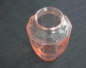 vintage pink depression glass geometric vase