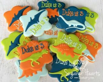 Dinosaur T-Rex Brontosaurus Pterodactyl Birthday Cookies - 1 Dozen