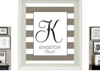 Personalized Monogram Script - Neutral Stripe