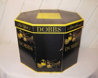 Vintage black hat box, Dobbs hat box, Fifth avenue, New York, 60s hat box, large hat box