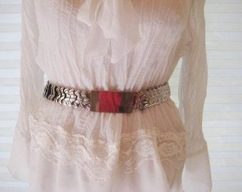 Silver metal waist belt, stretch belt, leaf pattern, 80s belt, medium