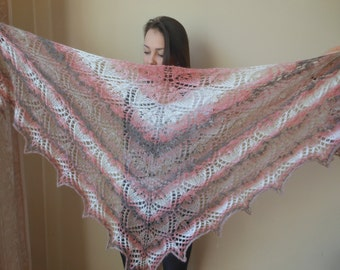 Lace shawl mohair yarn hand knitted shawl Triangular shawl, hand knitted