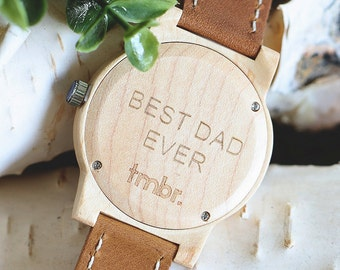 Best Dad Father's Day Maplewood Watch, Engraved Wood Watch, Husbands Gift - CST-BRLY-M-DAD