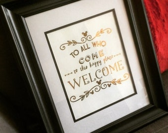 To All Who Come to This Happy Place FRAMED and Foiled Wall Art