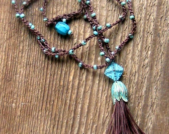 Tassel Necklace, Crochet Necklace, Long Tassel Necklace, Tassel Bead Necklace, Boho Necklace, Bohemian Jewelry