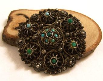 Vintage Silver Israel Brooch, Silver Pendant Brooch, Turquoise Brooch Pendant, Jerusalem Brooch,