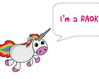 rectangle unicorn RAOK stickers (Random act of kindness)