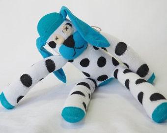 Dudley dog.  Blue striped sock puppy, sock animal, soft plush toy dog.