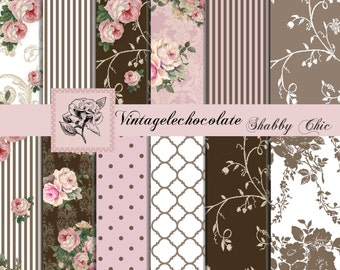 Digital Paper, Shabby Rose Paper, Vintage Scrapbook Paper, Pink/ Brown Vintage Paper, Cottage Rose Paper, Victorian Digital Roses. P96.VA