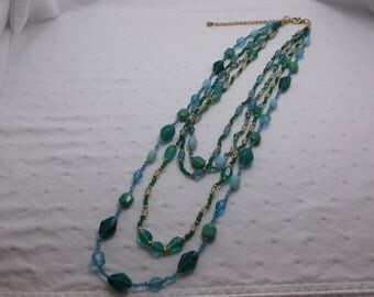 Teal and Green Beach Glass Necklace w Free Shipping