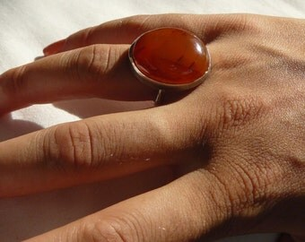 Carnelian - Sterling Silver - Handcrafted -Ring - size 8