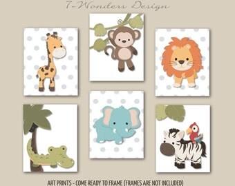 Safari Animal Art Prints Boys Girls Neutral Bedroom Nursery Wall Art, Children's Art // Set of (6) Nursery, Bedroom - Unframed