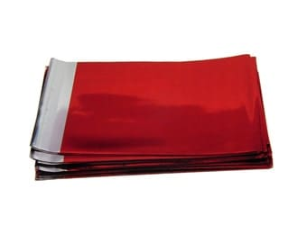 25 Cellophane Bags, self sealing and resealable small bags - METALLIC RED