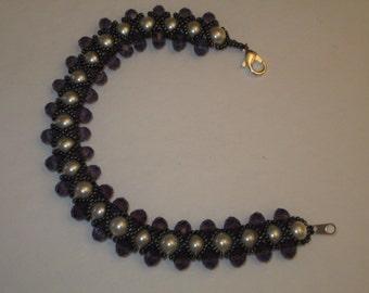 bracelet pearl swarovski crystal amethyst hematite elegant dressy bridal attendants gifts red peridot black jet beaded gold seed beads