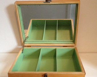Art Deco Jewelry Box  - Bakelite Hardware, Maple Wood Veneer and Antique Mirror