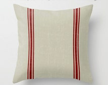 Vintage French Country Grain Sack Art Red Blue Green Grey / Zippered Pillow cushion case cover / Indoor Outdoor 2-Sided 16X16 18X18 20X20