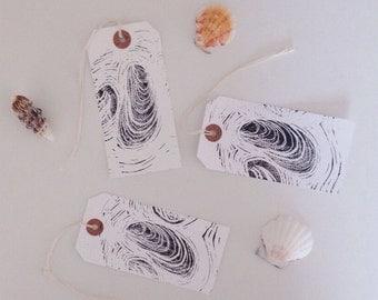 ON HOLIDAY Hand printed luggage tags // white gift tags // original lino print // shells nautical coast UK seller