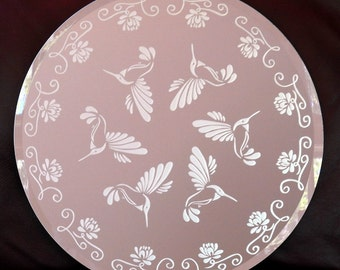 A Round of Hummingbirds Acid Etched Mirror