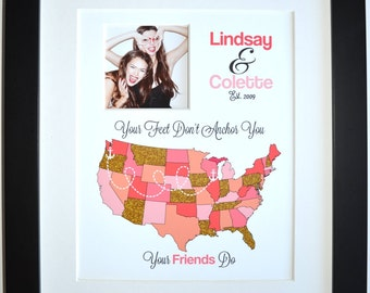 Custom best friend birthday gift glitter maps art print board sparkle glam quote moving away miss you bff bestie names farewell present