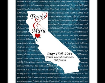 3 year anniversary gift for him, Any Or map of california wall art, wedding gift for couple lyric inspired gift art print california wedding