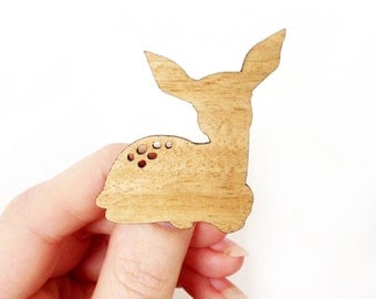 Laser Cut Fawn Bambi Baby Deer Brooch made from Australian Tallowwodd