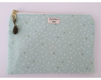 Gold Metallic Triangle Mint Zip Pouch with Pine Cone charm