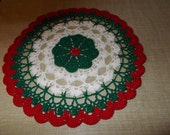 New Hand Crocheted Round Christmas Doily Doilie 10 Inch Round Doily Red White Green Holiday Topper