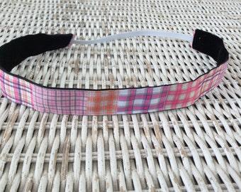 Pink Plaid Headband - Girls Patchwork Headband
