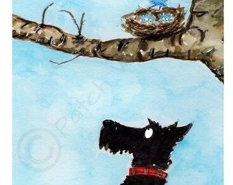 Scottie Dog 'Little Blue Birds', Art Print