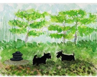 Scottie Dogs 'Zen Garden'  Art Print 8 X 6 Inches #74