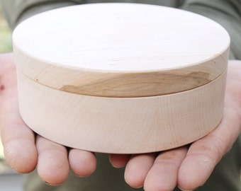 150 mm - Round unfinished wooden box - with cover - natural, eco friendly - 150 mm diameter - B101-150