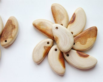 "Set of 5 juniper ""Small Lobule"" pendant with a hole - teether - Natural polished - eco friendly"