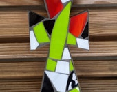 Multi colored Mosaic Cross - small stained glass mosaic cross, decorative cross