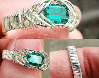 Green topaz and sterling silver ring
