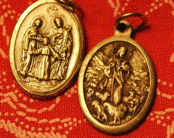 2 ANTIQUE SAINTS and Mary ovals findings love pendant good luck Relic Catholic protection antique no.510 silver art supplies medals charm