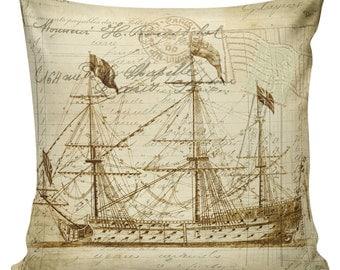 Nautical Pillow, Shell Pillow, Beach Pillow, French, Ships, Ocean Decor, Throw Pillow Cover, #NA0001, Elliott Heath Designs